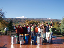 The students with Mt Etna in the background